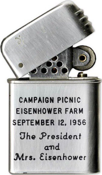 Cigarette lighter handed out during Eisenhower reelection campaign picnic at Gettysburg farm, next week 1956: