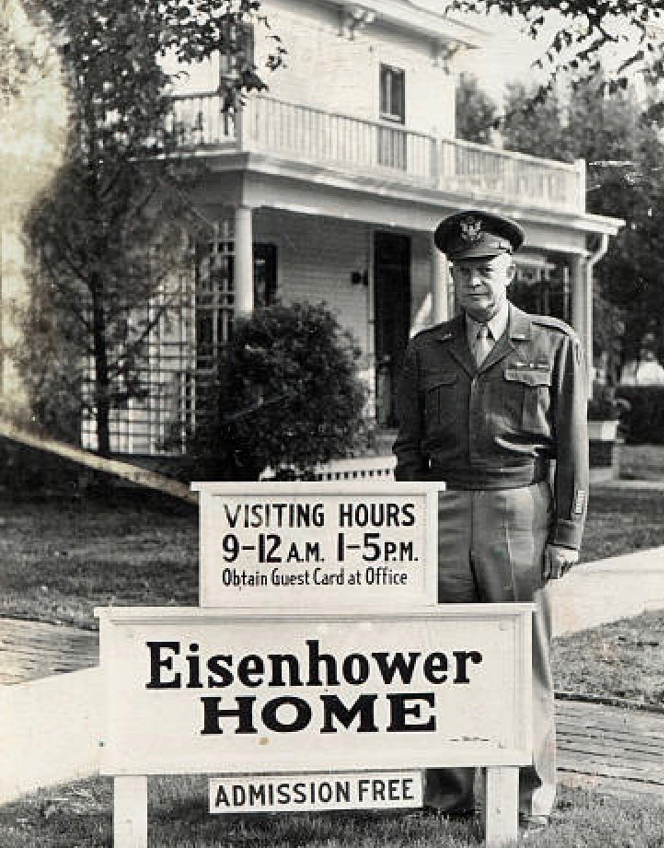 Returned from World War II a hero, Eisenhower at family home turned tourist attraction, Abilene, Kansas, about 1945:      #Getty