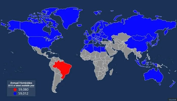 All the nations that have to be combined to equal Brazils annual homicides #Map #Maps #TerribleMap #Terriblemaps #Brazil
