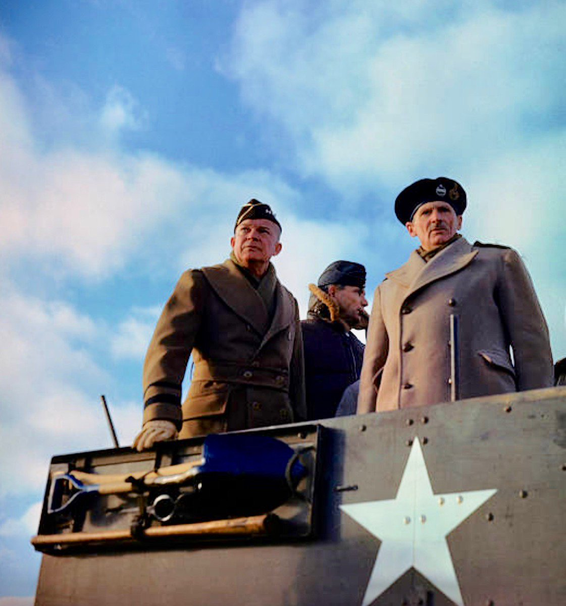 Eisenhower and Montgomery review troops, 1944:     #Getty