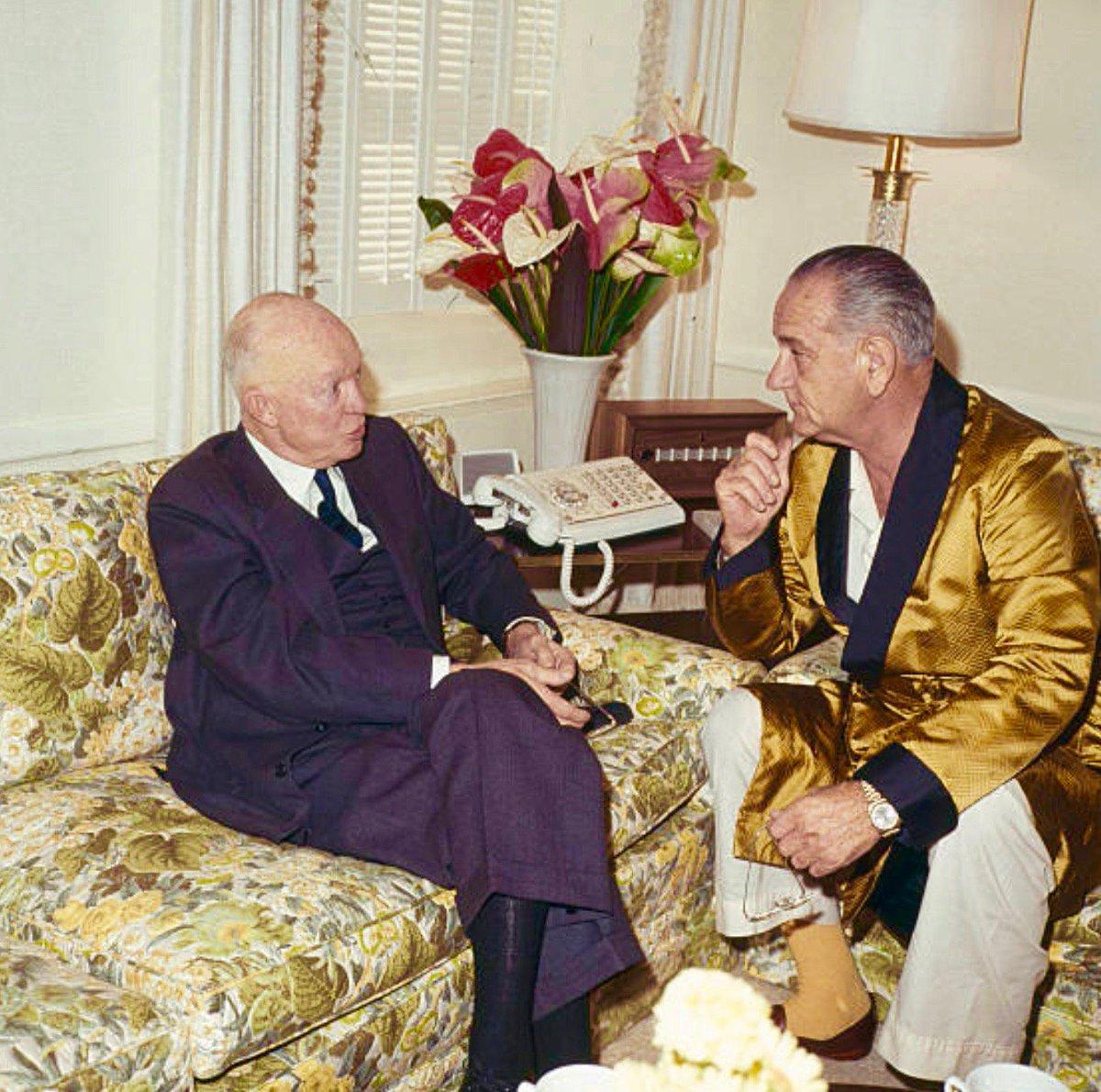 As ex-President, Eisenhower calls on President Johnson in hospital, 1965:                      #Getty