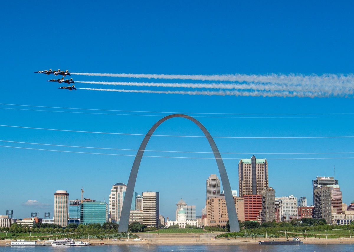 Have you seen us, #SaintLouis? Your #BlueAngels are ready to rock your skies Sept. 7-8 for the @SpiritAirshow! Whos coming to the Spirit of St. Louis Airport to see us? #USNavy #USMC #ForgedByTheSea #SemperFi #STEM #NavyOutreach #NavyWeek #StLouis #STL