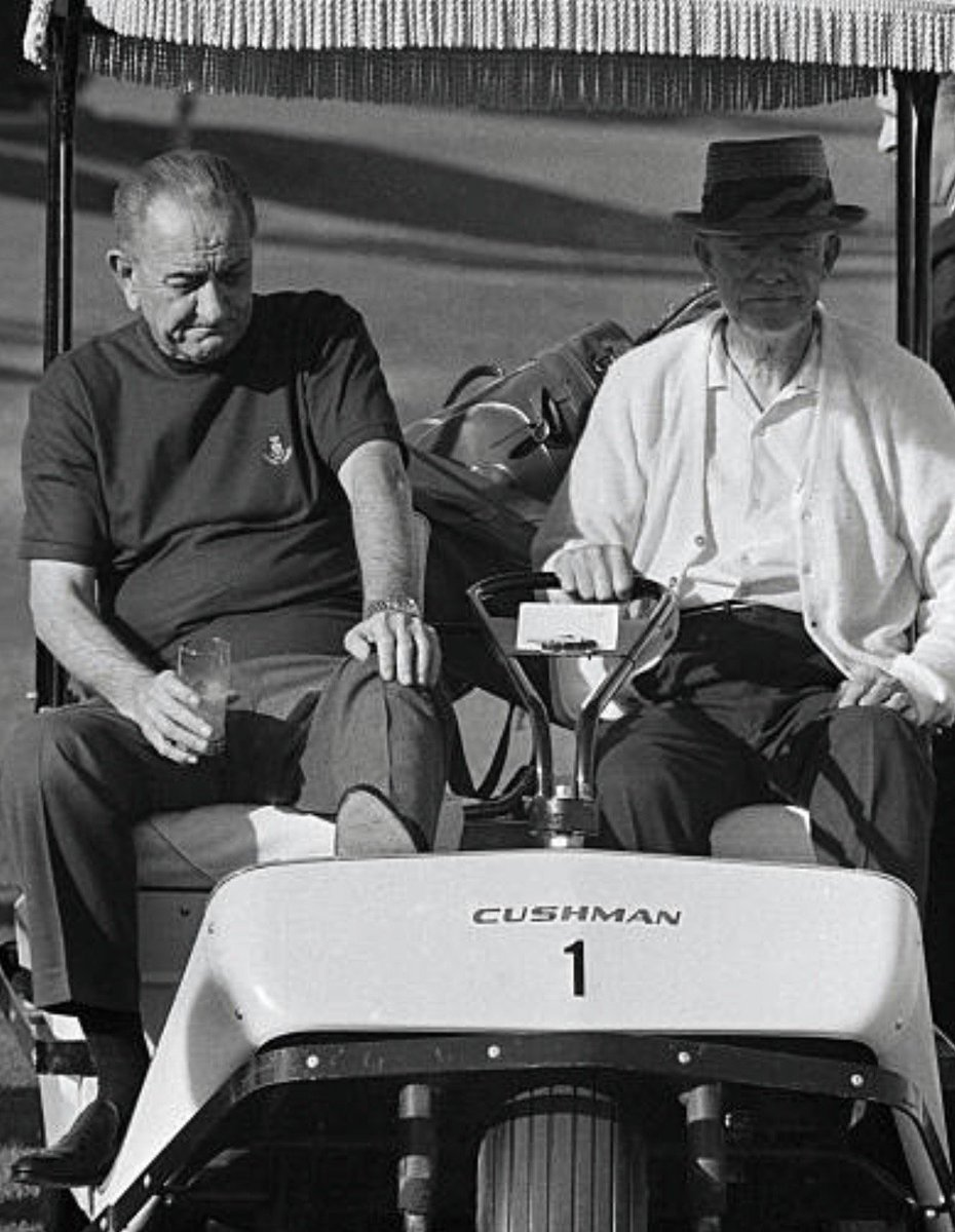 Weary, agonized LBJ consults Eisenhower on Vietnam War, 1968, during golf in California:  #Getty