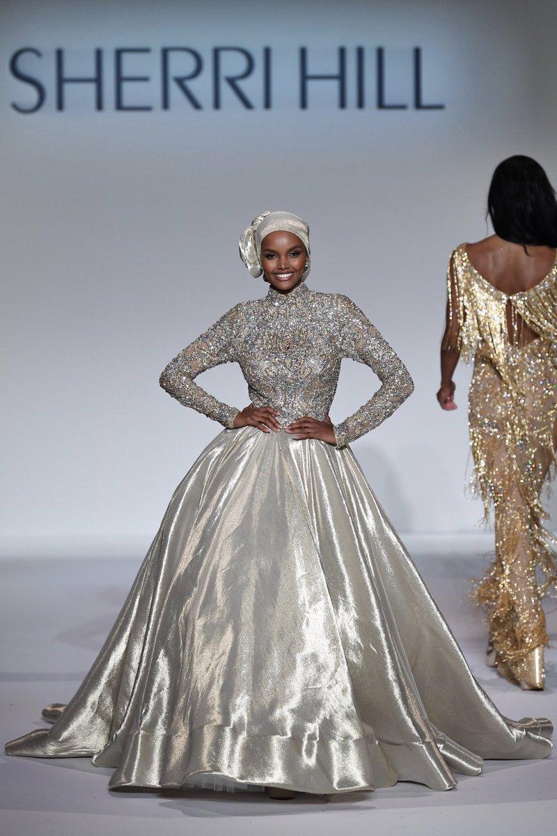 Halima Aden walking for Sherri Hill Spring 2020 #NYFW