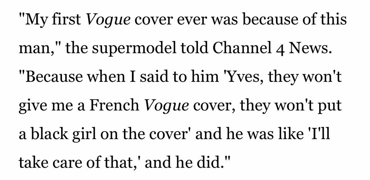Naomi was the model YSL threatened to pull advertising for.  https://www. vogue.co.uk/article/campbe lls-ysl-tribute  … <br>http://pic.twitter.com/JLxivbjSwf
