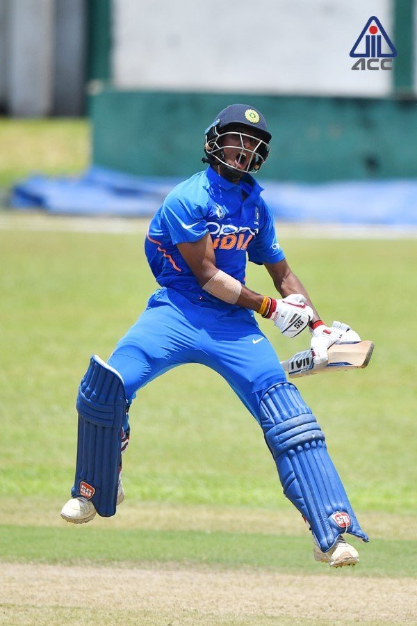 Well done, boys! 👏🏾India U19 registered a comfortable 60-run win over Pakistan U19 and are now through to the semi-final of #U19AsiaCup  Arjun Azad (121) and Tilak Varma (110) hit centuries while Atharva Ankolekar took 3/36 #INDvPAK