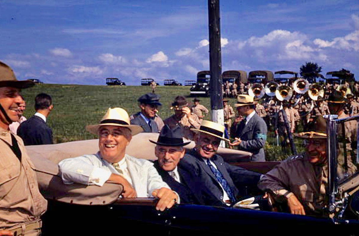 FDR and Secretary of War Henry Stimson visiting U.S. Cavalry, early 1940s:                      #Getty