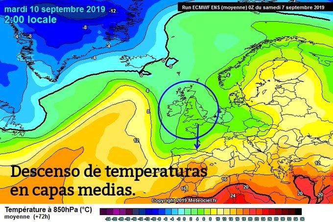 #pirineos #primerasnevadas Vienen cambios para el M10 con la llegada de una bolsa de aire frío en altura, acompañada de viento norte y 🌧️ y con ⬇️ de temperaturas. Más intensas en la vertiente norte. Primera nevada por encima de 2400m, pudiendo nevar en algunos momentos a 2000m.