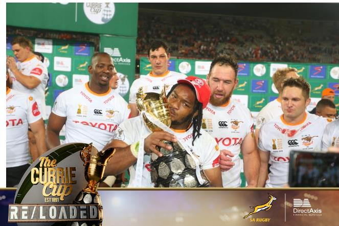 Joseph Dweba gets his moment to hold the Currie Cup!! @directaxis @cheetahsrugby