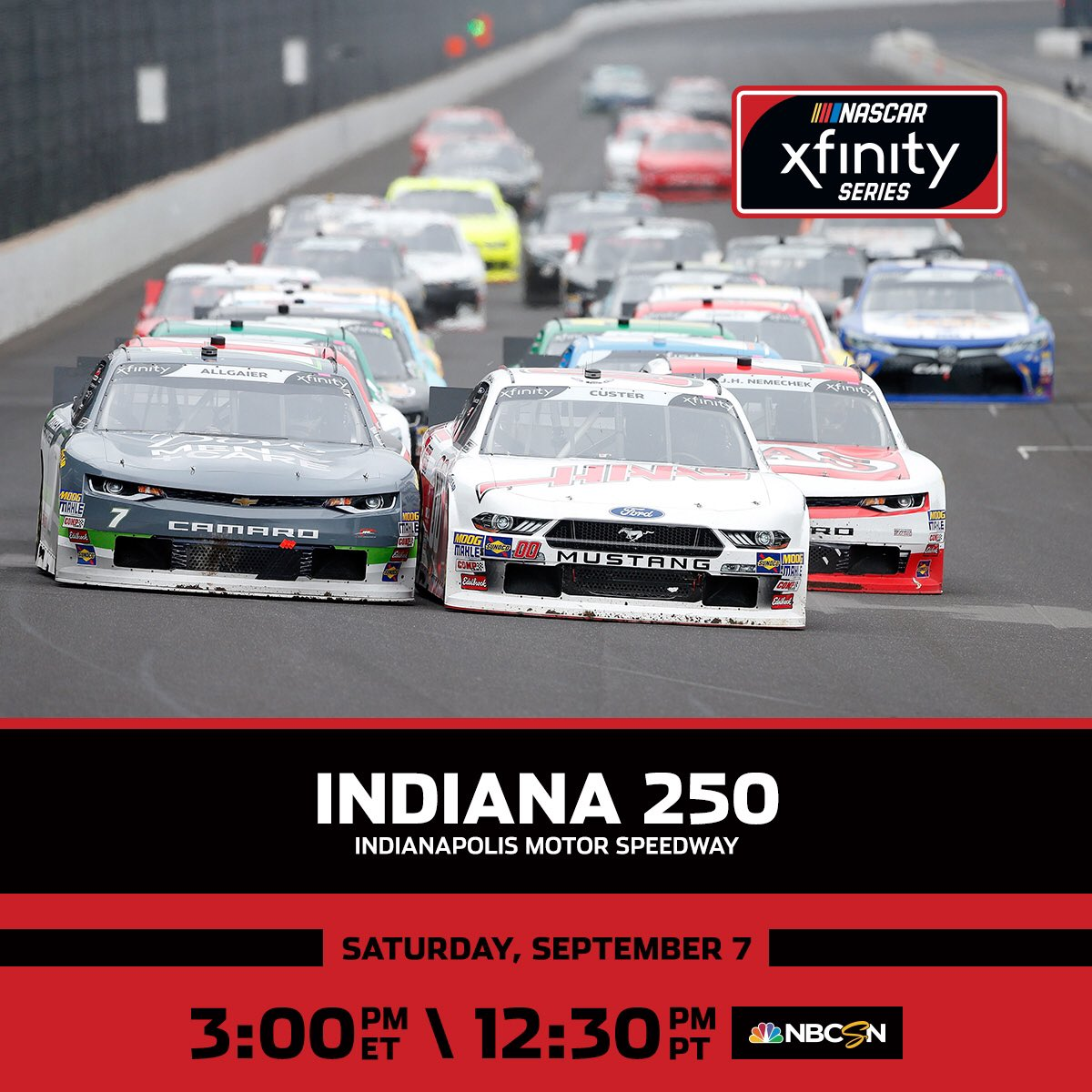 The stars of the @NASCAR_Xfinity Series continue their race to the playoffs! Only four spots remain with two races to go. Catch the #Indiana250 action today on NBCSN!