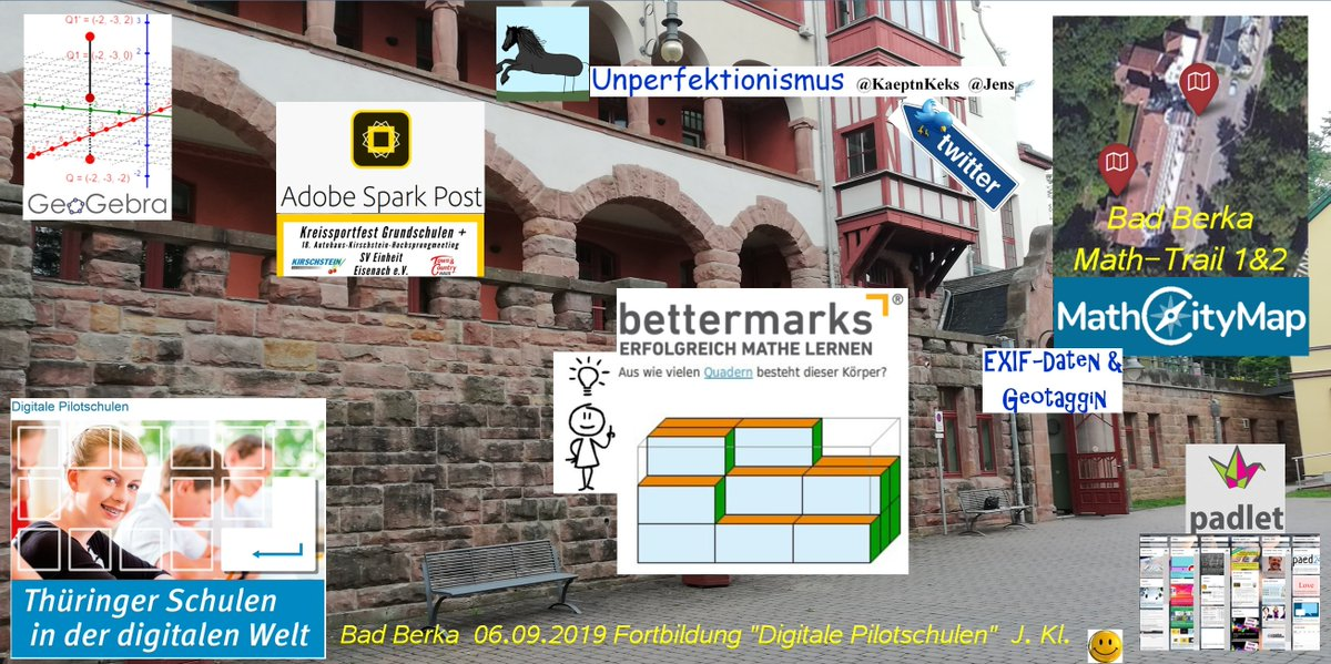 """Gestern WB & WorkShops mit 20 Thür. Schulen u.a. zu: @bettermarks, @mathcitymap @geogebra @AdobeSpark @padlet #EXIF #Geotagging. Danke an Jens @KaeptnKeks für die Inspiration (https://bit.ly/2k5udlk) zum Leitspruch: """"Mut zum #Unperfektionismus"""" @Th_Schulportal  @BildungTH #ThüBipic.twitter.com/jhFuGeDQl3"""