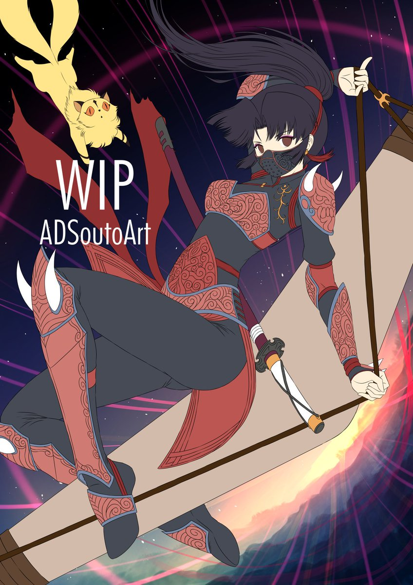 WIP - Sango, The Demon Slayer / Inuyasha Flat colors + backgrounds #anime #inuyasha #sango #kirara #lineart #fanart #flatcolors