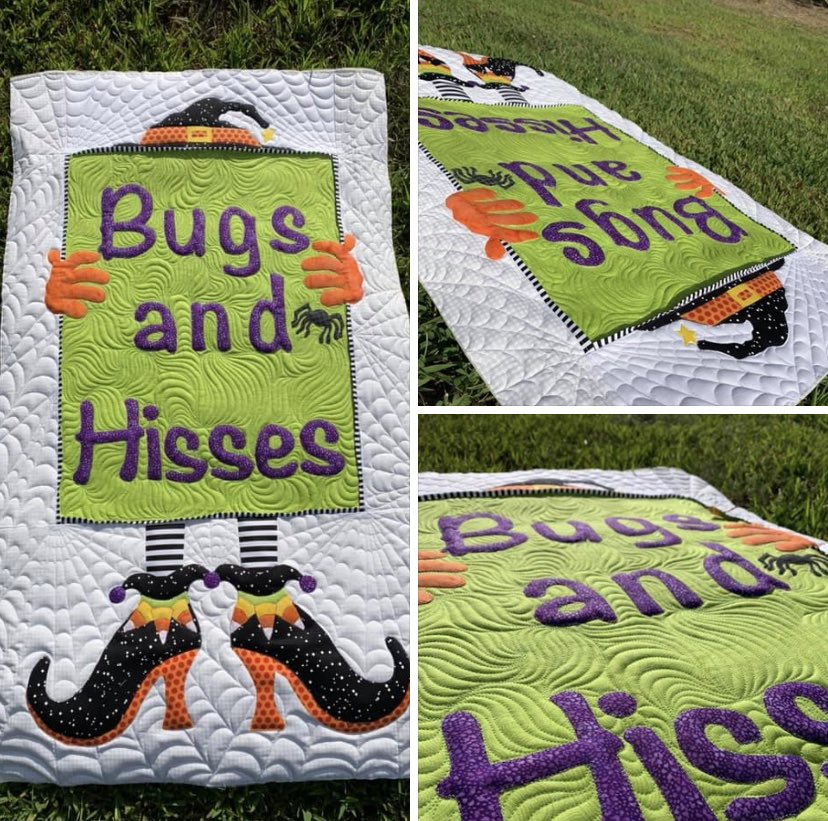 This custom Halloween wall hanging brought out spiderweb quilting skills I never knew I had. What a fun quilt! Webs quilted with InvisaFil Threads and Sign quilted with Innovatech by INNOVA Longarm using wool Quilters Dream Batting. #customquilting #halloweenquilt #battgirls https://t.co/QShNl4rvyn