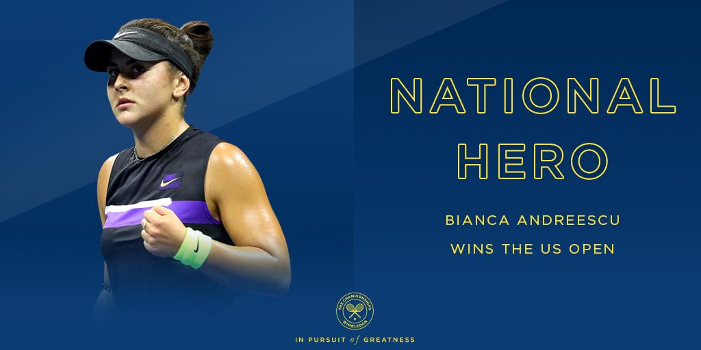 The first Canadian ever to win a Grand Slam singles title 🇨🇦 @Bandreescu_ is the #USOpen champion after beating Serena Williams 6-3, 7-5 🏆