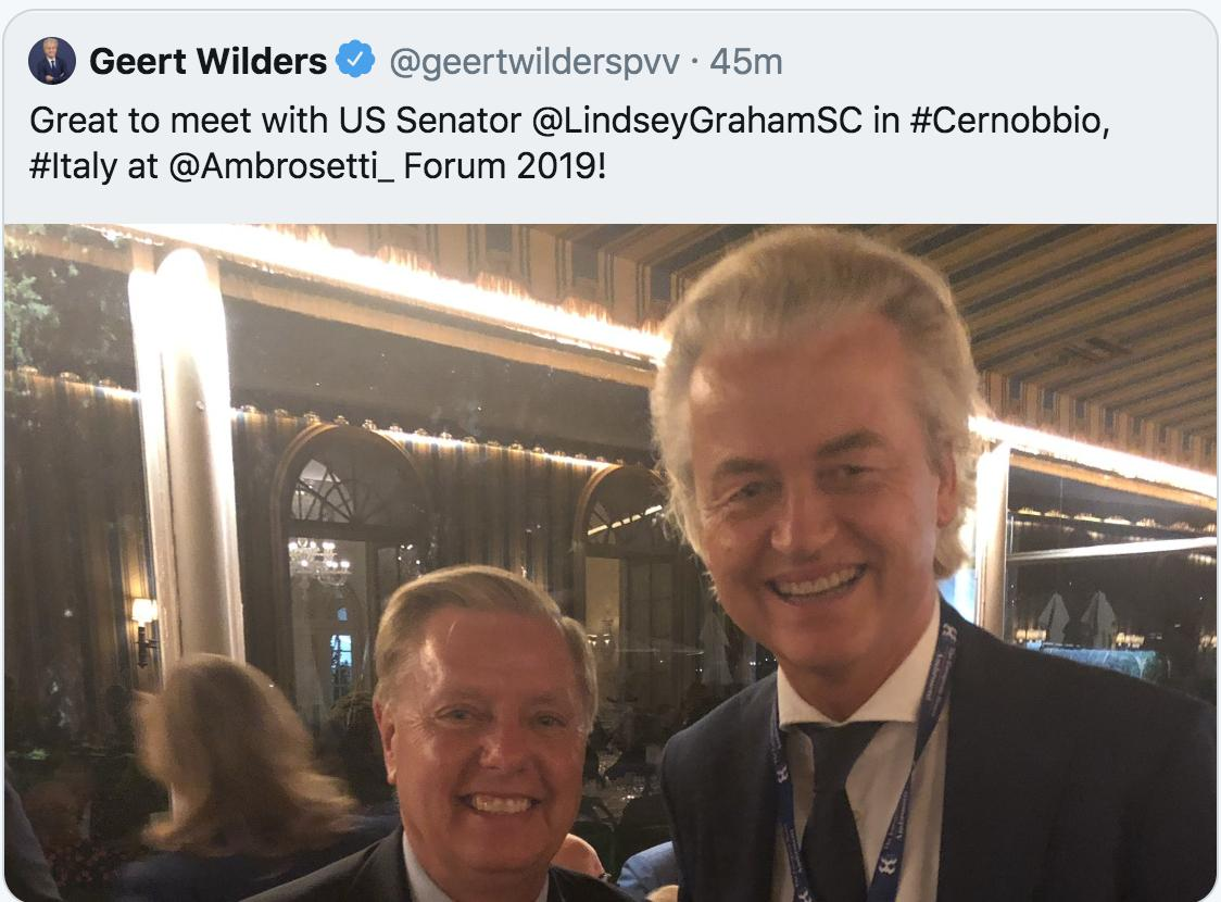 Lindsey Graham and far-right leader Geert Wilders were photographed smiling together