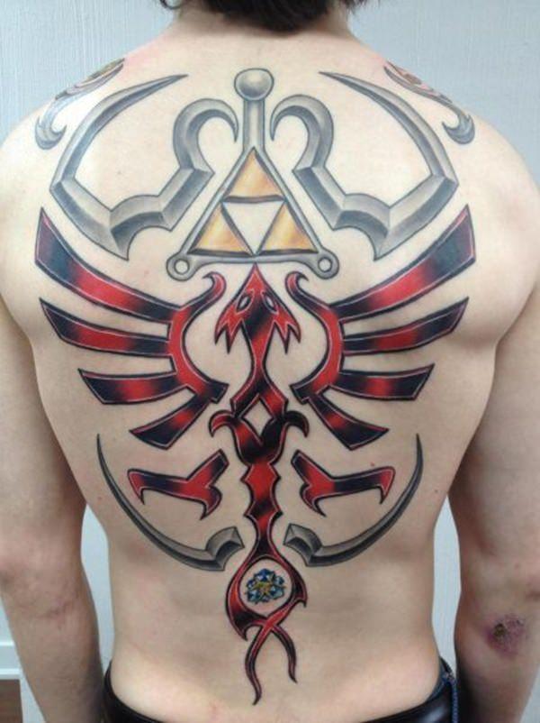 #Geek 🤓 Awesome of the Day: #Nintendo #LegendOfZelda #Triforce #Videogame 🎮 Full Back #Tattoo via @Tylerty11 #SamaTattoo #SamaGeek #SamaGames 🕹️