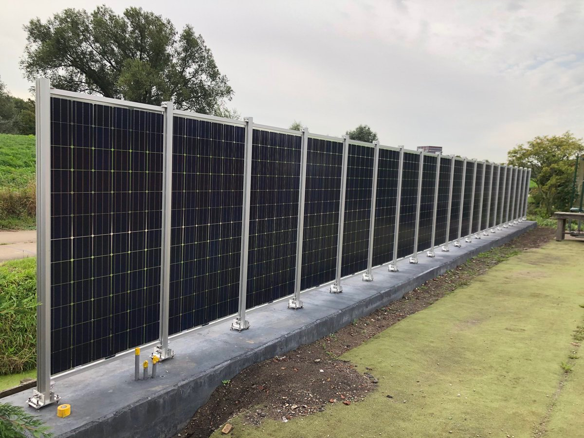 A solar fence As solar panels get cheaper, they will be used in ways that we didnt originally imagine Garden wall of 20 pv bi-facial 410Wp that can also generate 11,000 kWh / year pic via @GideonGoudsmit