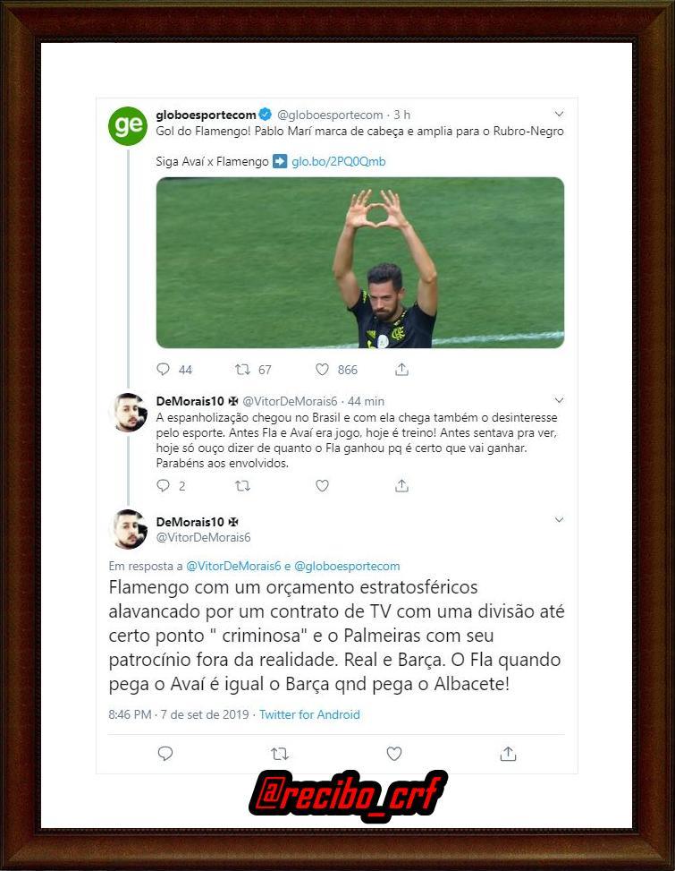 """Pablo Marí representante da """"espanholização do futebol brasileiro""""...  #recibo #Flamengo https://t.co/NnttrnnboH"""