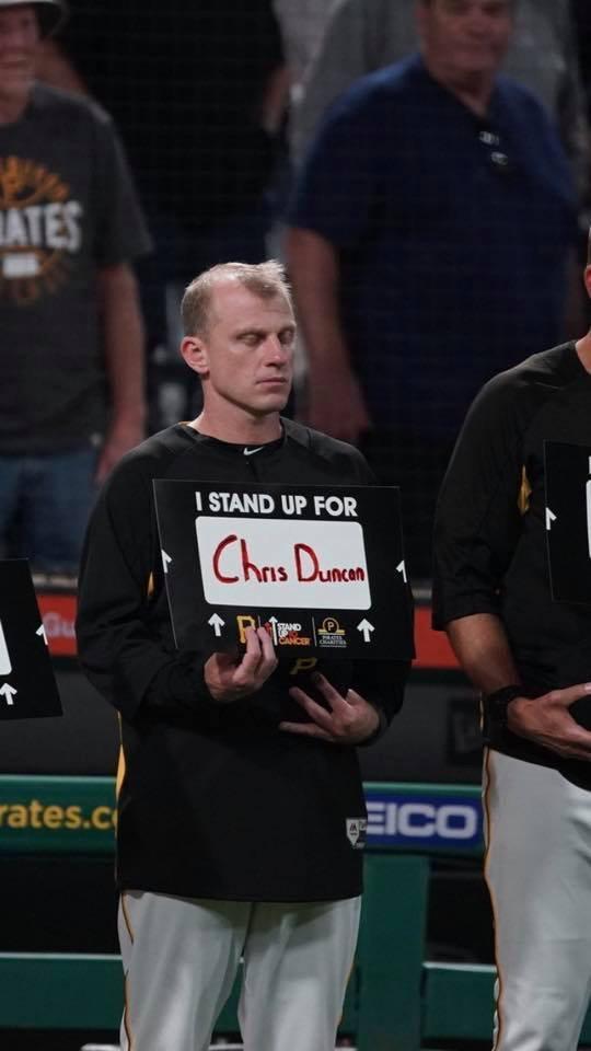 David Eckstein honoring his fallen friend and teammate, Chris Duncan, tonight.