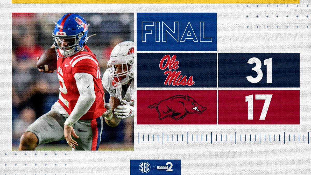 .@corral_matt gets his first win as a starter for @OleMissFB 💪 #HottyToddy