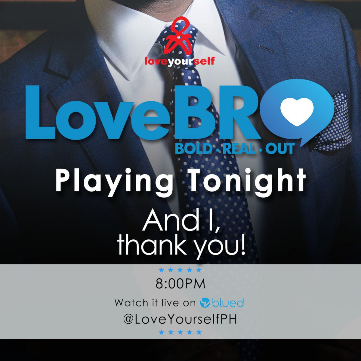 Eme eme boom pak! Ganern! AND I THANK YOU! LoveBRO playing tonight at 8pm here @LoveYourselfPhs blued account. Just download @blued app at bit.ly/LoveBro. See you and Enjoy! #LoveBRO
