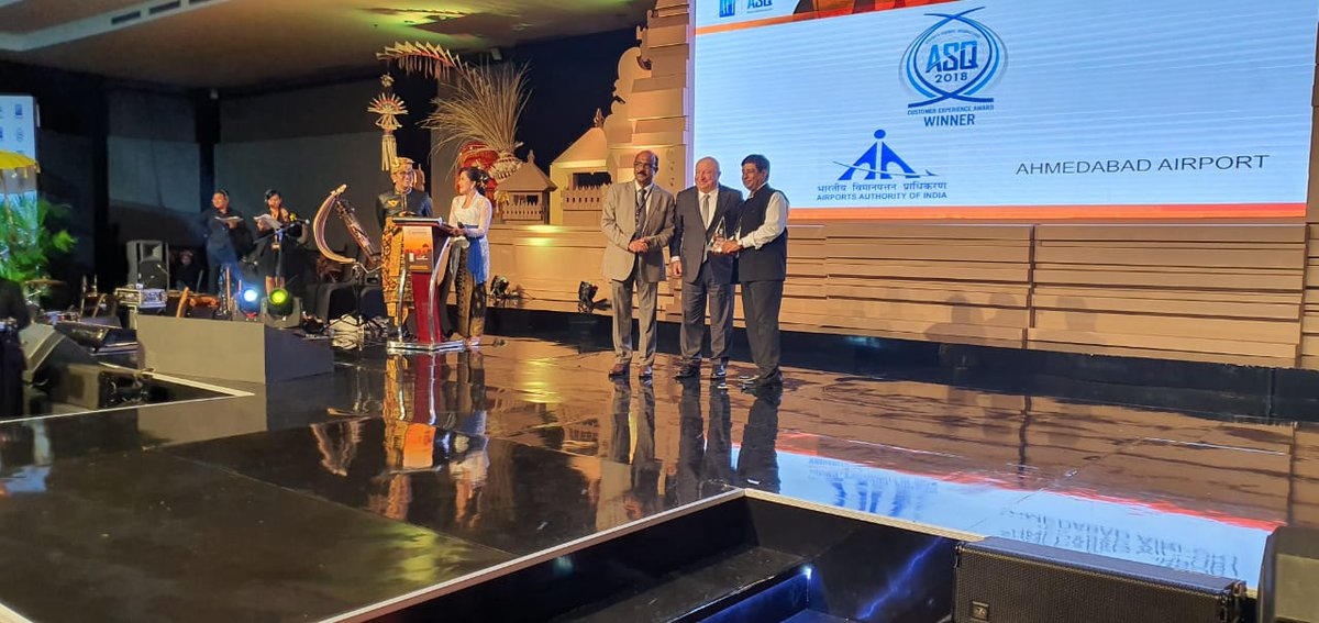 Member (Operations), AAI and Airport Director, #SVPIAirport received the 03 #ACI, ASQ International Awards for the Year 2018 on behalf of #AhmedabadAirport, in Bali, Indonesia.
