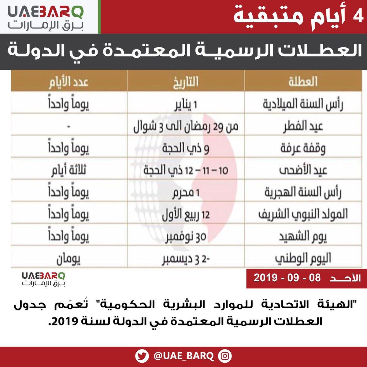 العطلات الرسمية في الإمارات 2020 موسوعة