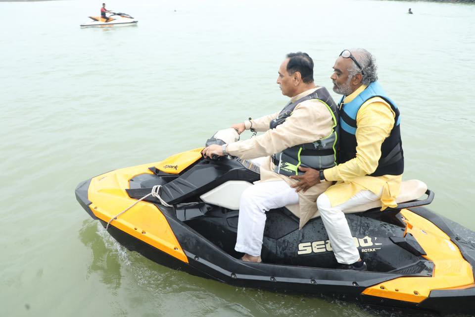 In pics/video: Gujarat CM, Dy CM riding Jet Ski at newly developed water-rich lake in Amreli with Savjibhai Dholakia