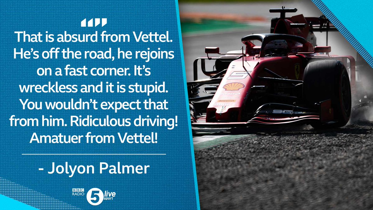 🙈 NEAR MISS  🙈Sebastian Vettel spins off into the grass at the Ascari chicane and almost collides with Lance Stroll rejoining the race'That was just dangerous from Vettel. It was an awful piece of driving' - @JolyonPalmerListen live👇: http://bbc.in/2AhzsDX #bbcf1 #f1