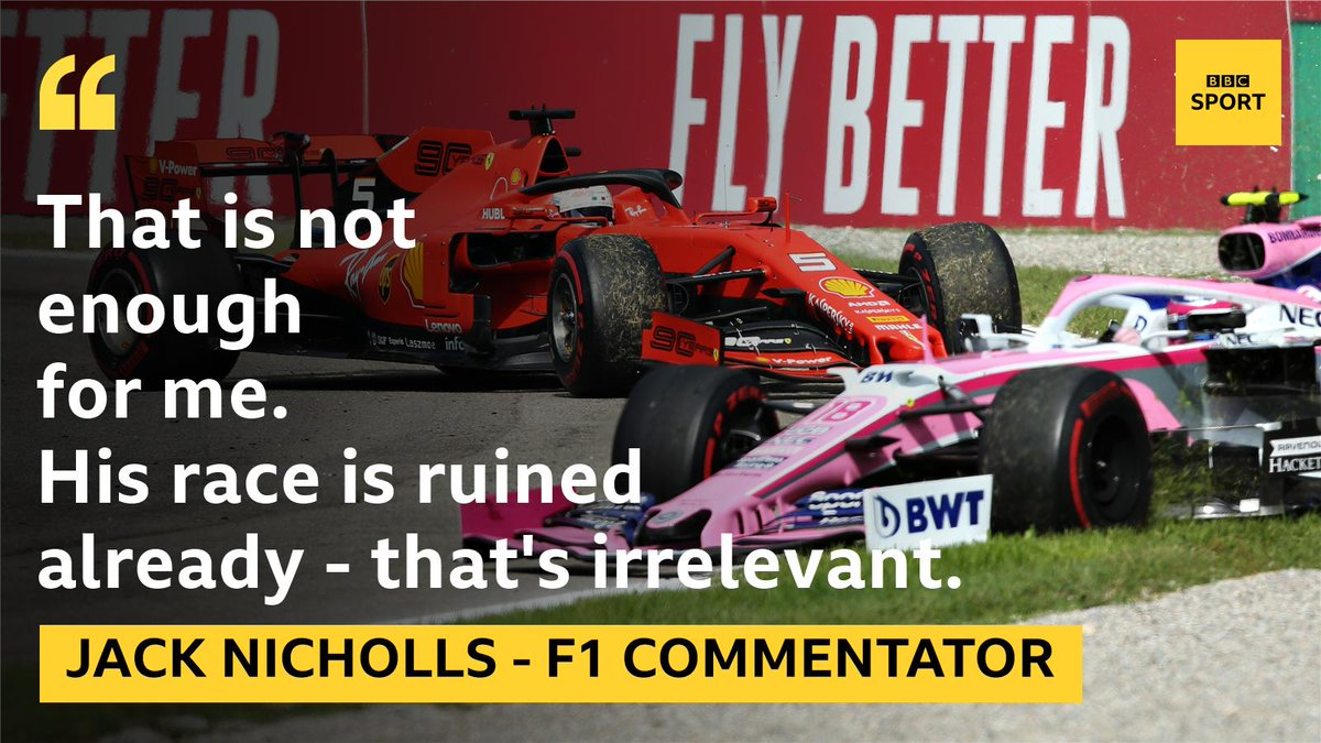 Thoughts on the 10-second penalty for Vettel?#ItalianGP LIVE: http://bbc.in/2lIFYys  #bbcf1