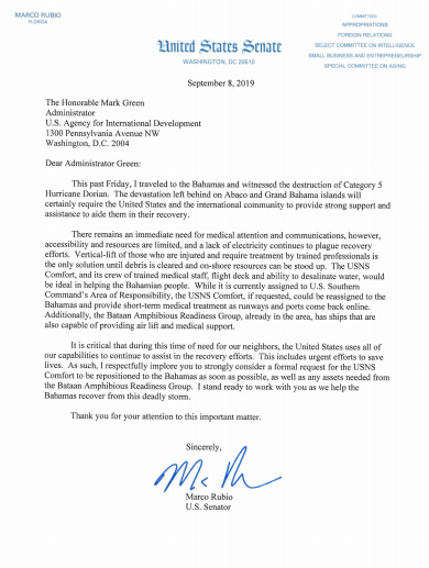 Today Sen Marco Rubio urged @USAIDMarkGreen to request the @USNSComfort be repositioned to the #Bahamas after #HurricaneDorian.  USNS Comfort & its crew of trained medical staff, flight deck and ability to desalinate water, would help the Bahamian people  https://www. rubio.senate.gov/public/index.c fm?p=Press-Releases&id=9DCE9B0F-B92C-4623-88E0-6DDCCE3A379F  … <br>http://pic.twitter.com/0LBNxmpAhU