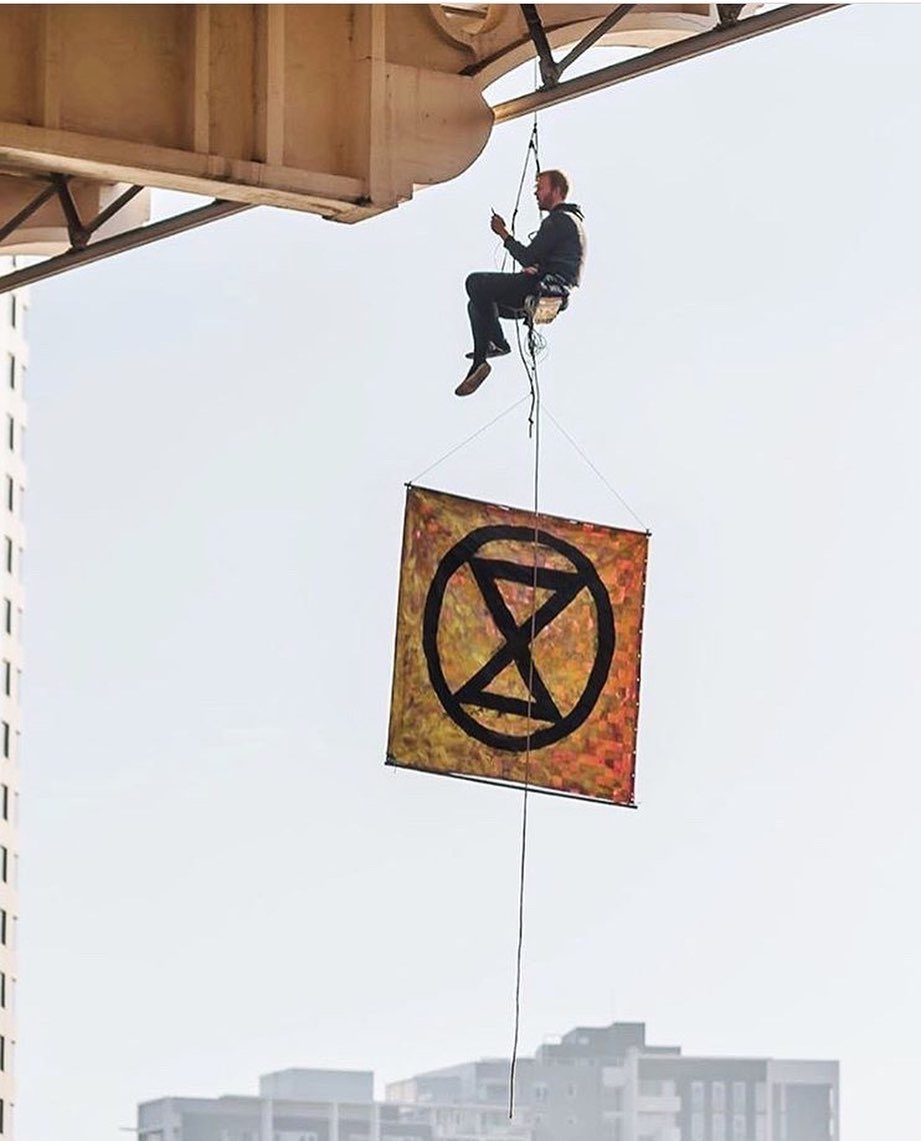 """""""The solutions will not come from the same thinking that caused this crisis.""""  Sean Nolan, who blocked the William Jolly Bridge during Brisbane's morning rush hour in August.  #ExtinctionRebellion #Repost 📸@xrebellionaus @HumansOfXR"""