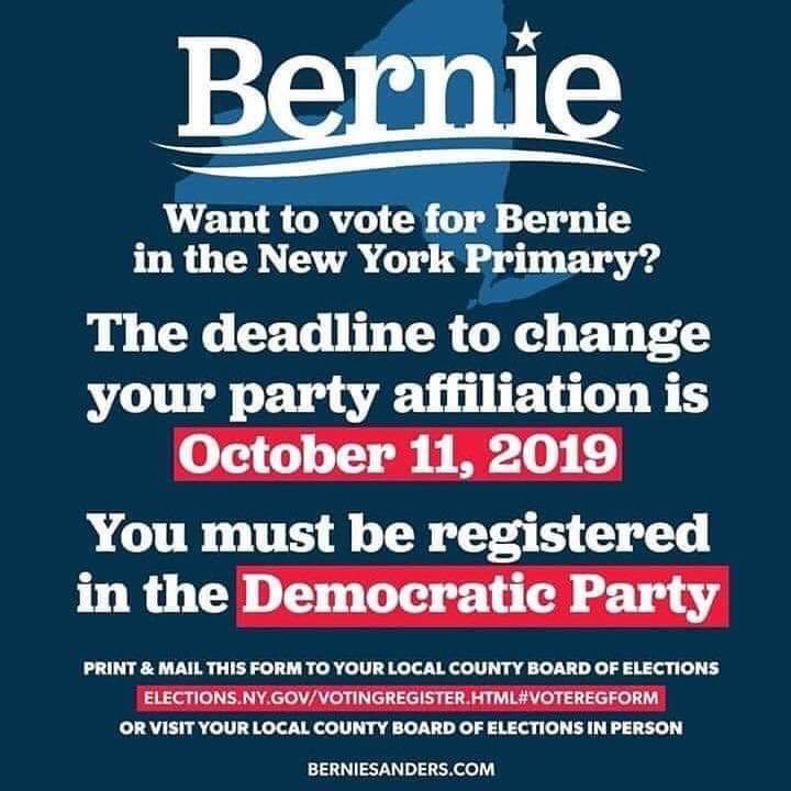 The population of #NY is 19.5m people. 1.95m people, in total, participated in the '16 Democratic primary or approx. 10% of the entire state. 8.4m people live outside NYC/Long Island in counties that @BernieSanders won in '16. Primary deadline is October 11 for #Bernie2020.