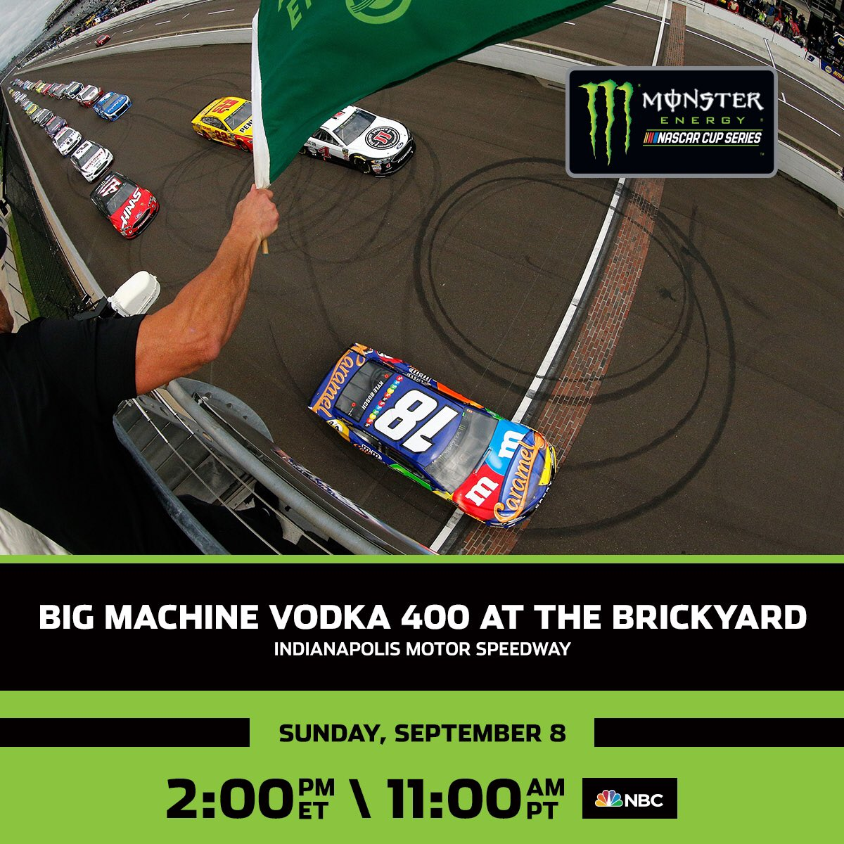 Only two spots remain! The #Brickyard400 rounds out the regular season at 1:00 p.m. CT on NBC.