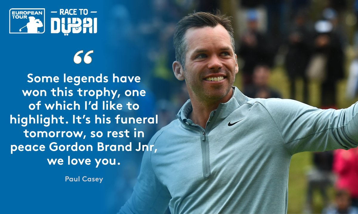 Paul Casey has dedicated his #PEO2019 win to a former champion, the late Gordon Brand Jnr.