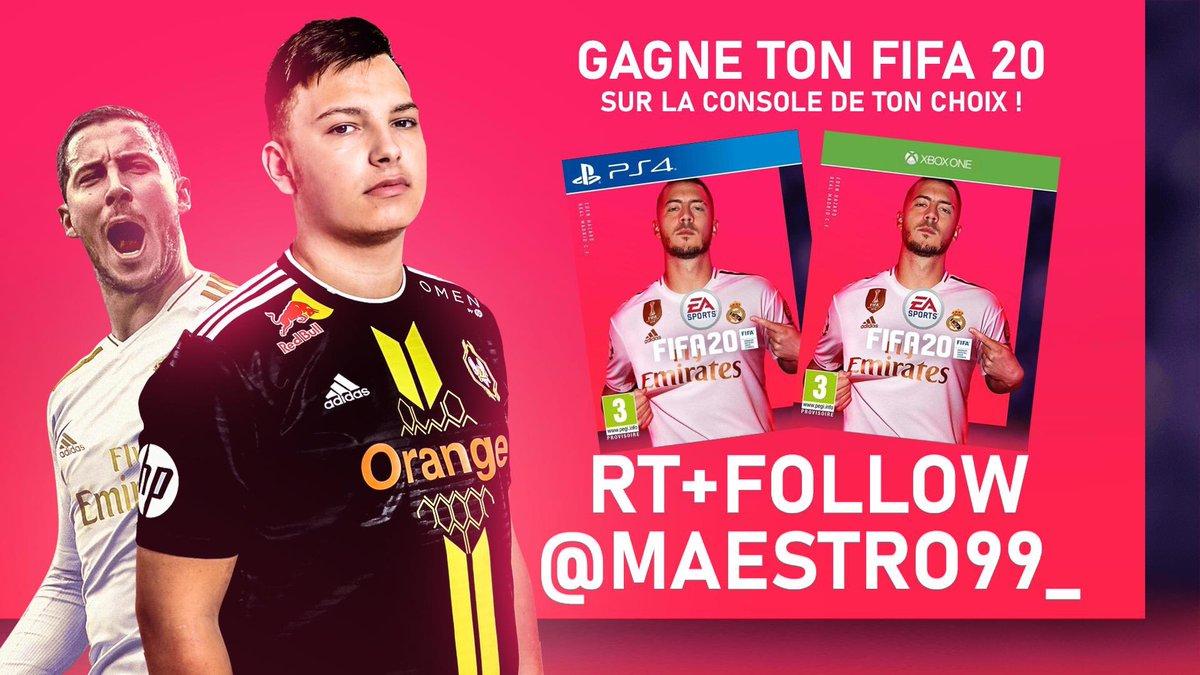 [CONCOURS] Grâce a @EA_FIFA_France j'ai la chance de vous faire gagner un FIFA 20 sur la console de votre choix !   RT + Follow @Maestro99_ pour participer !   TAS le 19/09 - Bonne chance 👍 https://t.co/IPj1fUhuB5