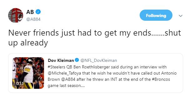 Dov Kleiman On Twitter Antonio Brown Deleted This Tweet