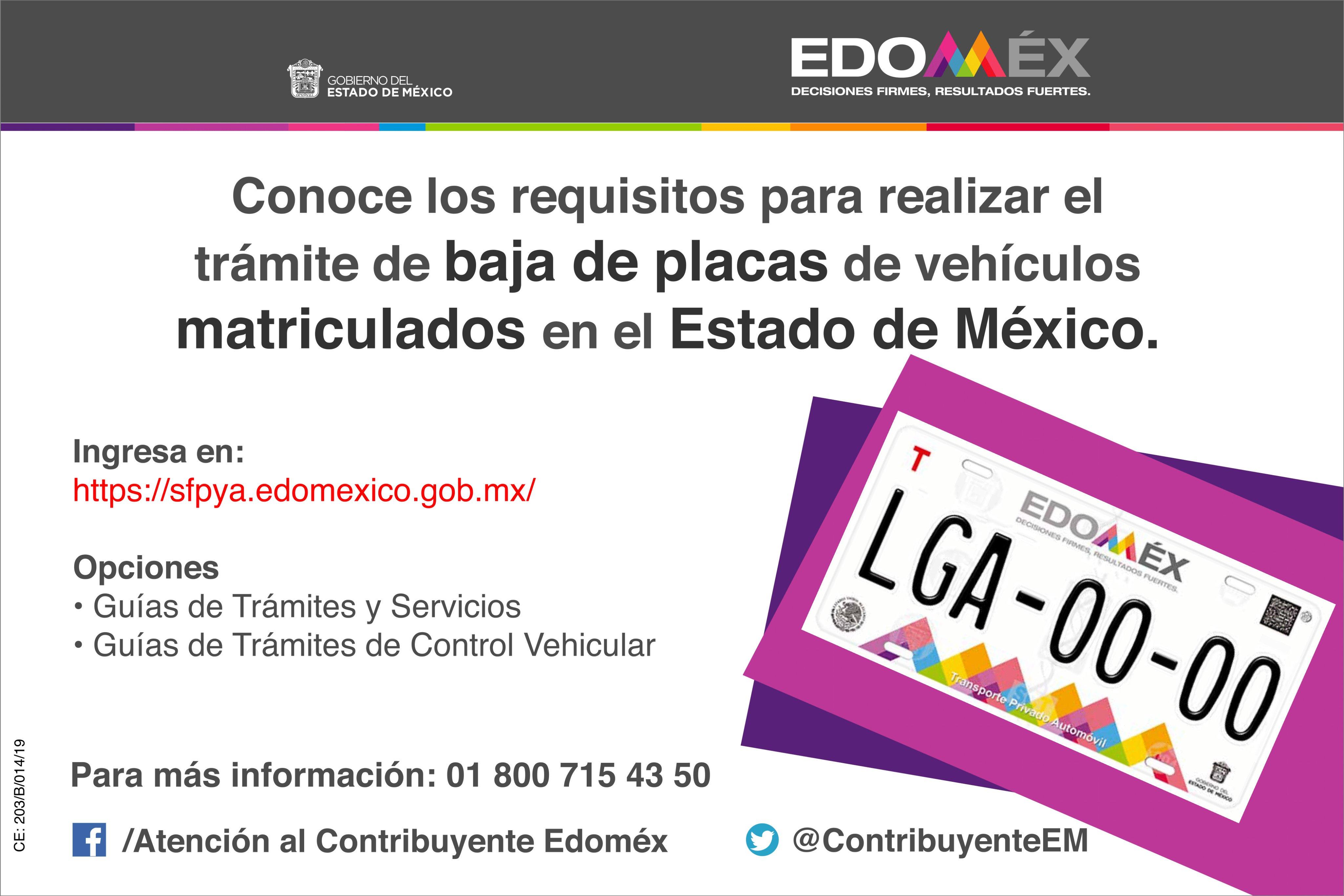 Reemplacamiento Edomex 2019 Dar De Baja Placas Un1ón Edomex