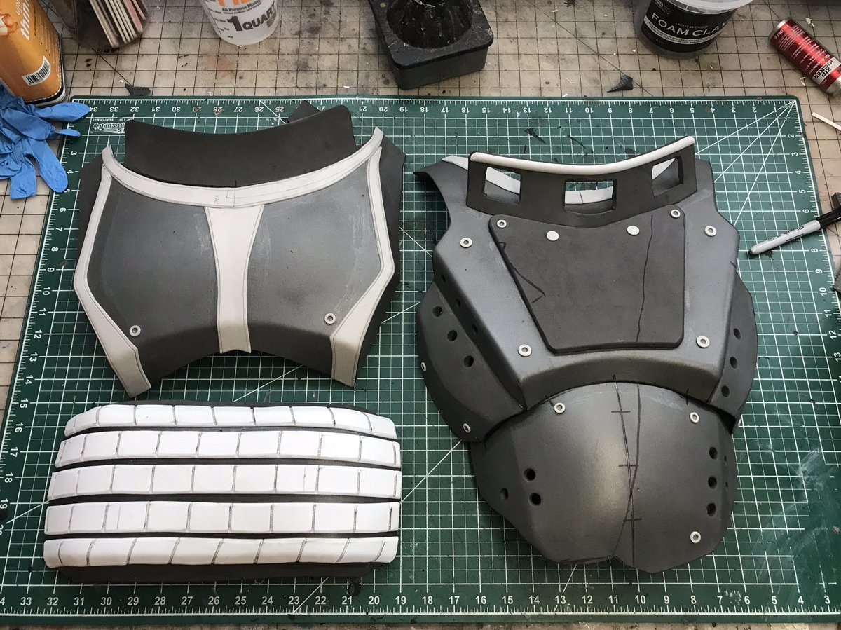 Fallout 4 Metal Armor parts are done. Next step is battle damage and aging. @fallout #foam #twitch #cosplay #foamsmith #maker #diy #metalarmor #creative https://t.co/CxkPHCOC8E