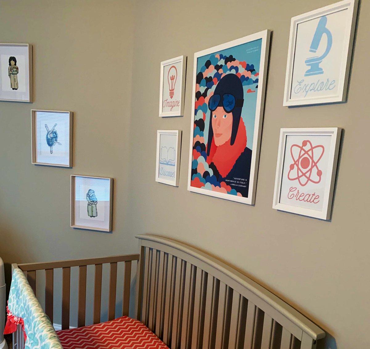 Nursery is slowly but surely coming together. #greatwomeninhistory @rebelgirlsbook