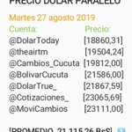 Image for the Tweet beginning: Dólar paralelo hoy Martes 27