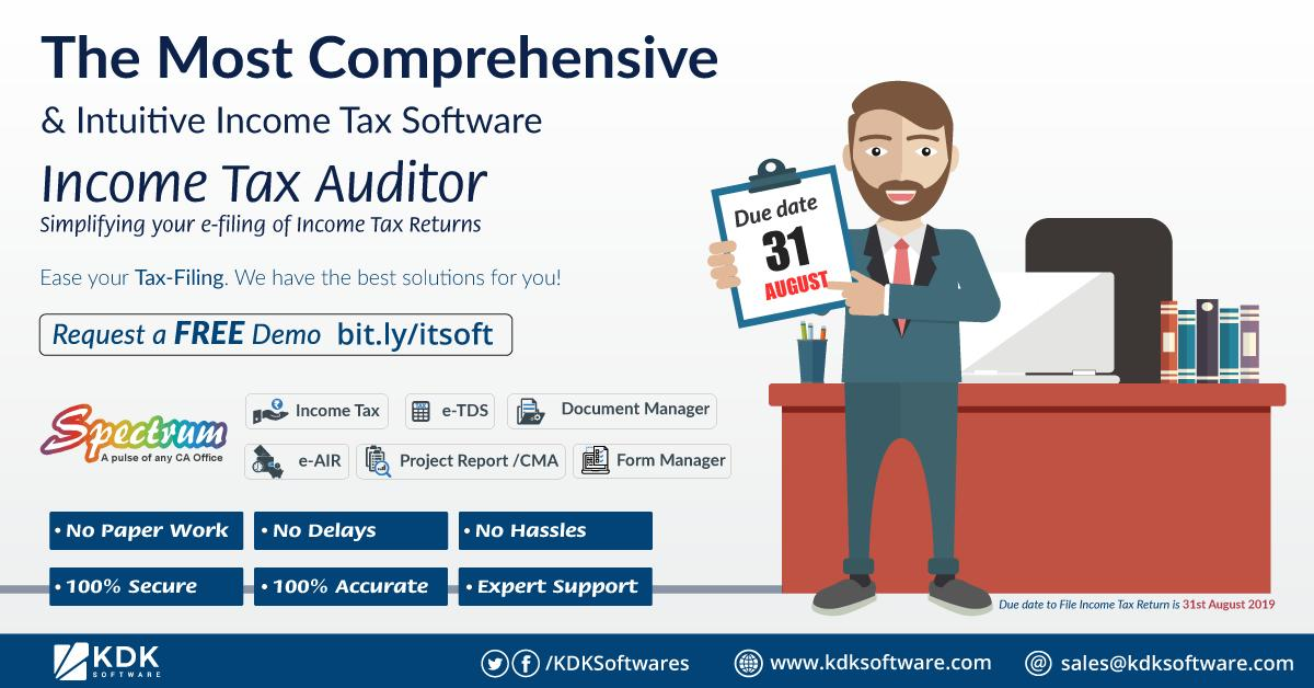 Kdk Softwares On Twitter 31st August 2019 Due Date To File Itr