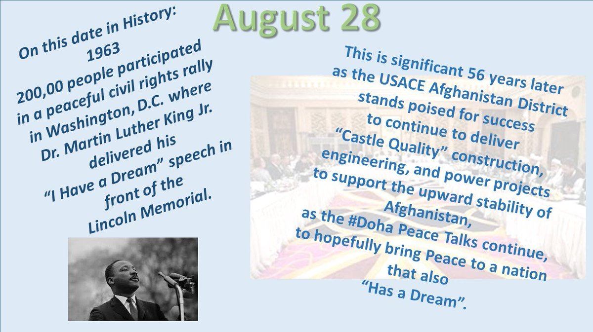 #OnThisDate- #IHAVEADream-#DOHAPeaceTalks- We reflect on the past and look to the future. @US4AfghanPeace.