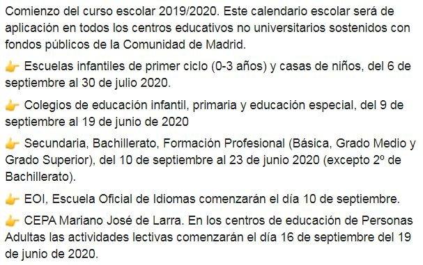 Calendario De 2020 Completo.Comienzo Del Curso Escolar 2019 2020 Puedes Consultar El