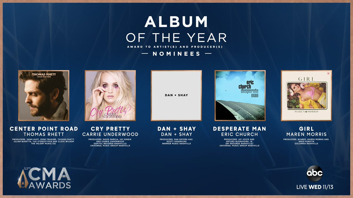 The #CMAawards ALBUM of the Year nominees are... Center Point Road by @ThomasRhett Cry Pretty by @CarrieUnderwood Dan + Shay by @DanAndShay Desperate Man by @EricChurch GIRL by @MarenMorris Turn on @GMA NOW to see @JimmieAllen & @AshleyMcBryde reveal more nominees!