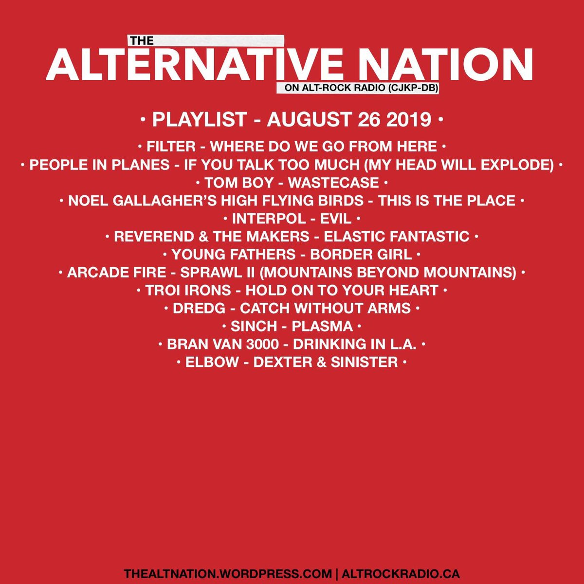 Playlist for the August 26th edition of The Alternative Nation Radio Show on @altrockradioca #music #Radio #yourFMalternative #alternative #indie #altrock #rock #internetradio #Playlist #Canada #canadarockspic.twitter.com/5lwKjdqSfh