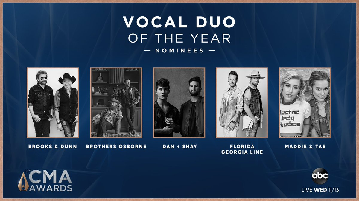 The #CMAawards VOCAL DUO of the Year nominees are... @BrooksAndDunn @BrothersOsborne @DanAndShay @FLAGALine @MaddieAndTae