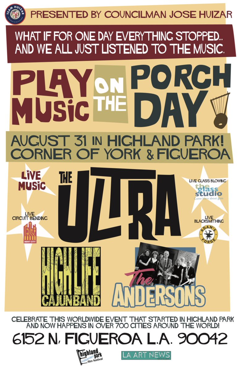 #NELA, join us 8/31 at 6pm #HighlandParkSeniorCenter for our 3rd Annual Play Music on the Porch Day, a celebration featuring live family friendly entertainment.  Play Music on the Porch Day, is an international day of music started in HLP. #playmusicontheporchday. <br>http://pic.twitter.com/mOSDaJ5cCL