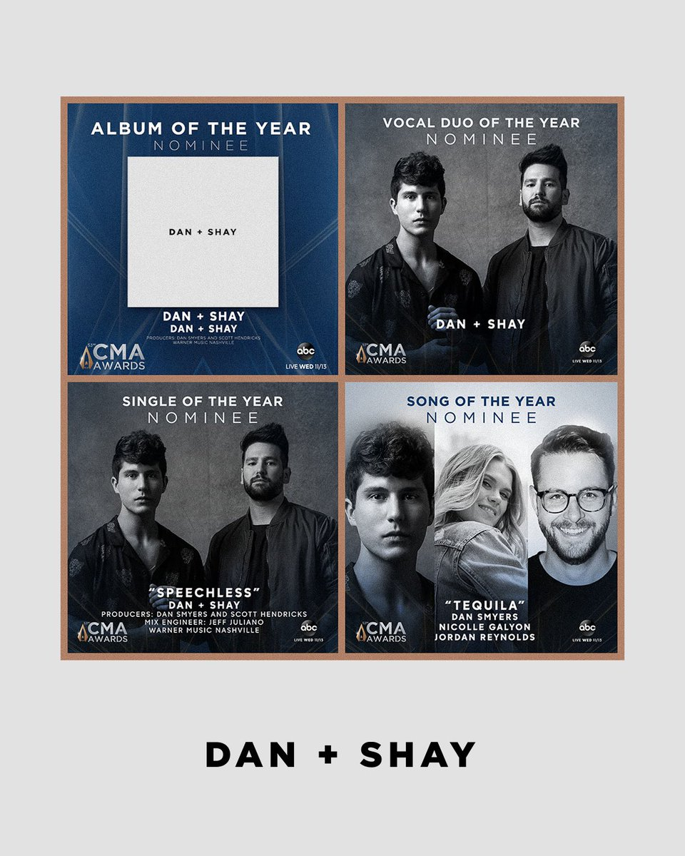 woke up to some incredible news this morning! we're nominated for... • album of the year • vocal duo of the year • single of the year • song of the year at the @cma awards! thanks to everyone who voted for us! ❤️
