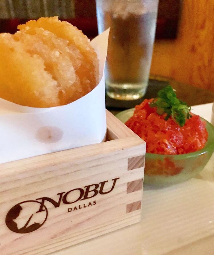 How we design your #NobuExperience . #fishandchips #NobuCocktails #NobuMelbourne #salmonsashimi with #Sakura designed plate . #chefNobu is designer .